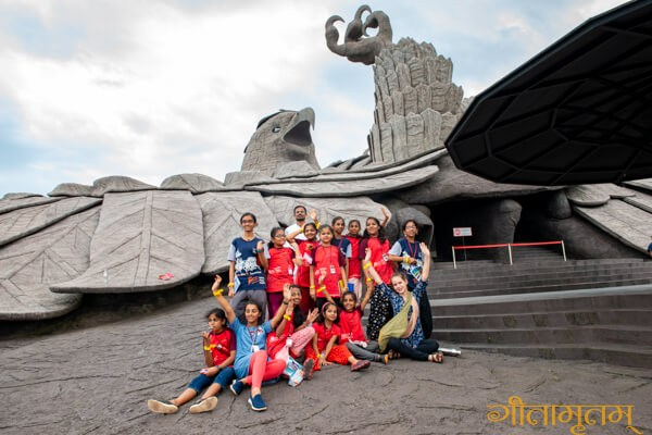 by the statue of Jatayu